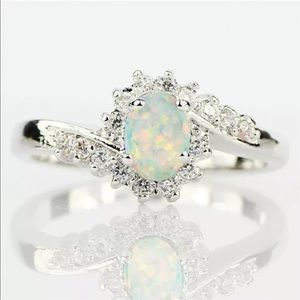 Natural Opal w/ Diamonds 925 Sterling Silver Ring